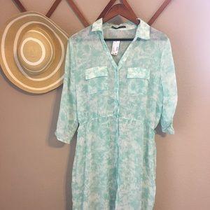 NEW Maurice's Sheer Button Down Dress